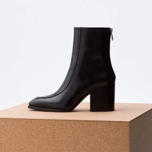"AEYDE ""Lidia 80mm"" Leather Block Ankle Boots"